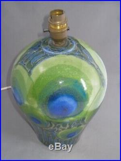 Large Dartington Pottery Peacock Table Lamp