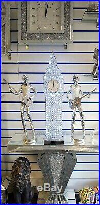 Large Diamond Crystal Big Ben Lamp Clock Floor Table Lamp 90cm