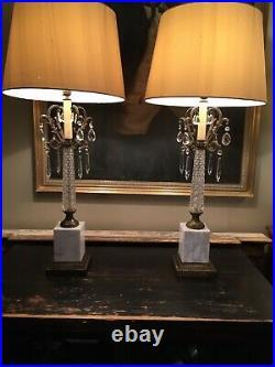 Large Elegant Pair Mid Century 1950s Marble & glass & Ormolu Table Lamps