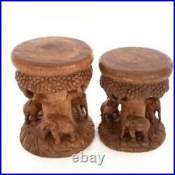 Large Elephant Forest Table/Hand Carved/Lamp Table/Plant Stand/50x40x40
