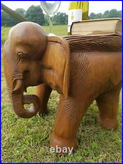 Large Elephant Table/Solid Wood/Hand Carved/Lamp Table/Plant Stand/Waxed 14