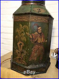 Large English Antique C19th Toleware Tea Canister Lamps Decorative Light Caddy