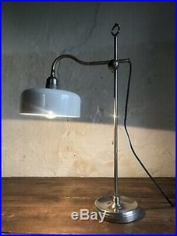 Large Fine Quality Antique French Table Lamp with Original Enamel Shade. C1910