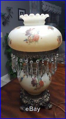 Large Floral Gone with the Wind Table Lamp with Crystals 3 Way