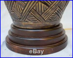 Large Frederick Cooper Ginger Jar Brass Table Lamp Asian Style Wood Base