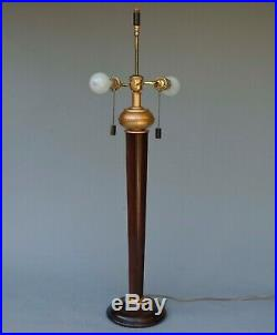 Large Frederick Cooper Wood Table Lamp withoriginal shade 37 tall