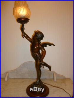Large French antique spelter angel cherub table lamp Moreau circa 1900s