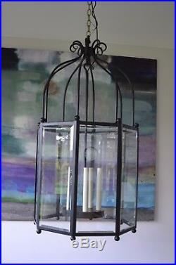 Large Georgian Style Iron Lantern Porch Kitchen Chandelier Hall Light Lamp Table