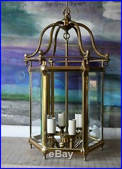 Large Georgian Style Vintage Porch Hall Light Side Table Lamp Brass Lantern 2/2