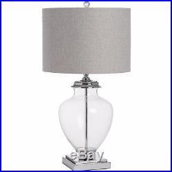 Large Glass Vase Base Feature Table Lamp Chrome Base Herringbone Style Shade