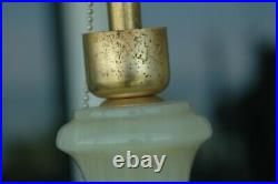 Large Heavy Pair of Onyx Marble Stone Table Lamps No Chips or Cracks