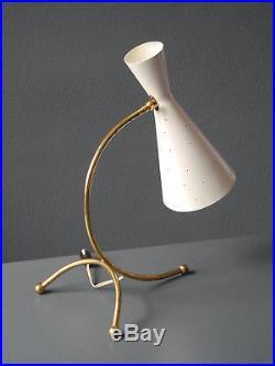 Large Mid Century Brass Diabolo Perforated Metal Table Lamp Kalmar Austria
