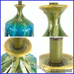 Large Mid Century Modern Turquoise Green Drip Glaze Table Lamp & Wool Tartan