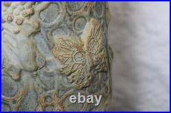 Large Mid Century Studio Pottery Lamp Base by Bernard Rooke, Original Lampshade