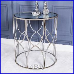 Large Mirrored Side Lamp Silver Table Vintage French Metal Hallway Bedroom Home