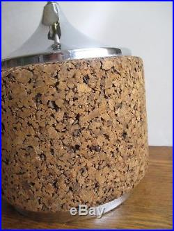 Large Mod Round Cork and Chrome Table Lamp 1960s/1970s Retro Lighting