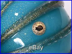 Large Murano Galliano Ferro Art Glass Table Lamp Vase, Aqua Green & Gold Bubbles
