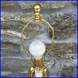 Large Narrow Waterford Crystal Table Lamp with Brass Mounts 33 Tall