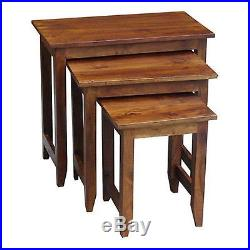 Large Nest Of Tables Side End Lamp Plant Stands Lisbon Range Solid Acacia Wood