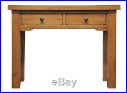 Large Oak 2 Drawer Console Table Light Oak Wooden Side Lamp Telephone Stand