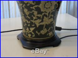 Large Pair Black and Gold Swirl Table Lamps Oriental Style with matching shades