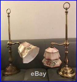 Large Pair Christopher Wray Table Lamps + 1920s Milk Glass Hand Painted Shades