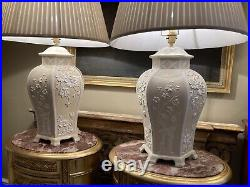 Large Pair Mid Century Casa Pupo Style Italian Pottery Chinoiserie Table Lamps