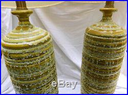 Large Pair Mid Century Modern 1960s Table Lamps Green Taupe Drip Glaze Ceramic