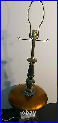 Large Pair Mid Century Vintage Hollywood Regency Amber UFO Table Lamps