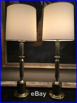 Large Pair Of French 1970s Modernist Brass Table Lamps