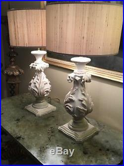 Large Pair Of Painted Vintage Painted Florentine Style Table Lamps
