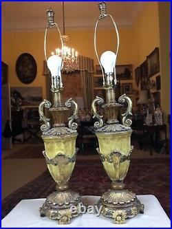 Large Pair Vintage Coach House Heavy Cast Gilt Urn Table Lamps silk pleat shades