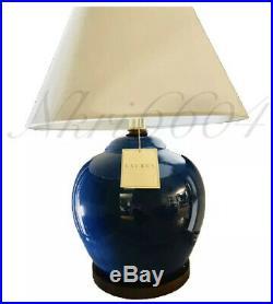 Large Ralph Lauren Mandarin Blue Crackled Porcelain Ginger Jar Lamp