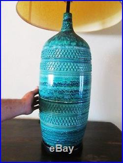 Large Raymor Bitossi Rimini Blue Aldo Londi Italian Table Lamp with Original Shade