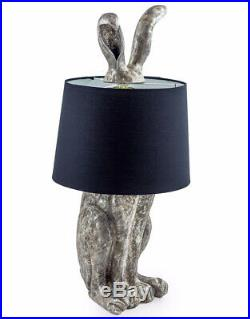 Large Retro Antique Silver Rabbit Ears Lamp Floor or Table with Black Shade Hare