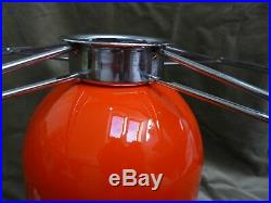 Large Retro Guzzini Style Orange Tangerine Mushroom Plastic Shade Lamp 1970