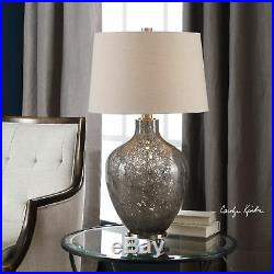 Large Seeded Gray Art Glass Table Lamp Bubble Silver Ovo Egg Shape Round