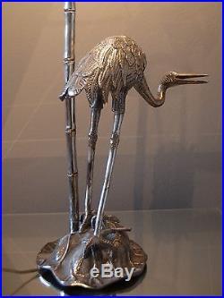 Large Silver Plated Heron Table Lamp, Maison Jansen, Mid Century Antique