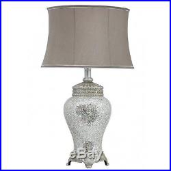 Large Silver Sparkle Mosaic Antique Silver Regency Lamp, Taupe Shade H 79cm