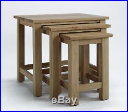 Large Solid Oak Nest Of 3 Coffee Tables Wooden Side/End/Lamp Nesting Set