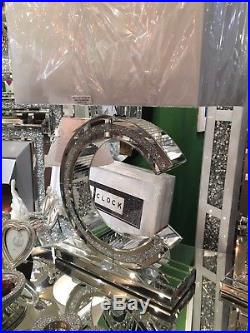 Large Sparkly Silver Mirror Diamond Effect Crushed Glass Crystal'C' Table Lamp
