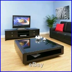 Large Square Black Oak Coffee / Lamp / Side Table Glass Top Modern 73E