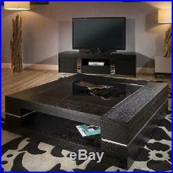 Large Square Black Oak Coffee / Lamp / Side Table Glass Top Modern 82E