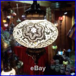 Large Stunning White Moroccan Turkish Electrical Lantern Hanging Lamp Light