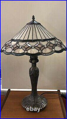 Large TIFFANY TABLE LAMP Jewel Glass Light White Pink Turquoise Lilac