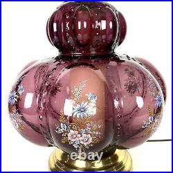 Large Table Lamp Purple Amethyst Vintage Hollywood Regency 9883
