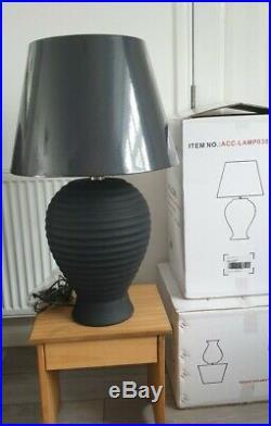 Large Table Lamp Quality Oak Furniture Land Living Room Lamp Charcoal Black