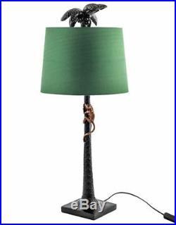 Large Table Lamp Retro Funky Antique Shade Bedroom Blue Velvet Gold Monkey