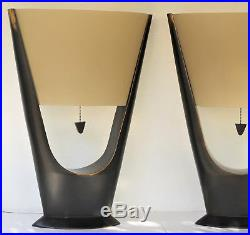 Large Table Lamps Pair Vintage Mid Century Modern Art Deco Retro Eames Era