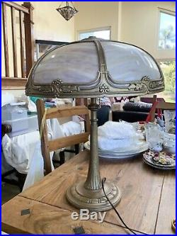 Large Tall Antique Carmel Slag Glass Table Lamp With Grapes Leafy Design Overlay